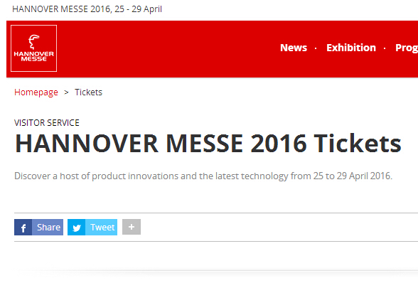 Free ticket of 2016 Hannover Messe April 25-29.